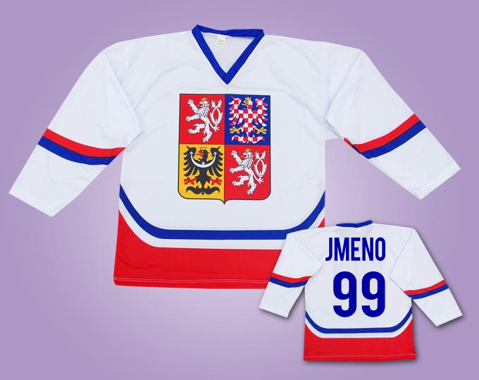 62400703862 Hokejový dres ČR bílý s vlastním jménem - FOTBAL